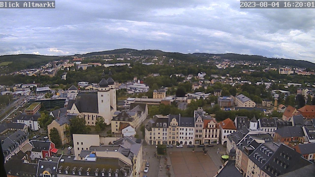 Bild vergrößern: Webcam mit Blick auf den Plauener Altmarkt.